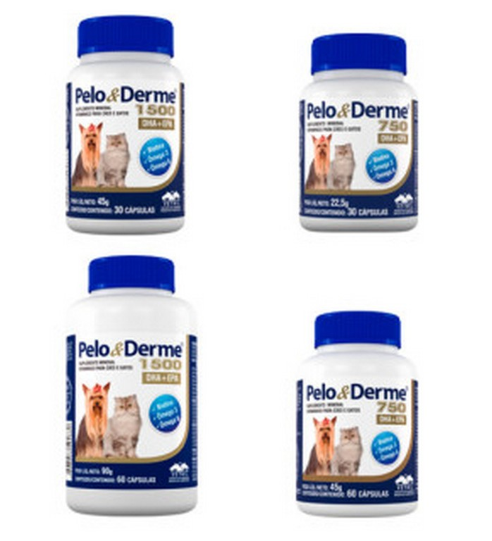Pelo & Derme (750 ou 1500 DHA + EPA - 30 ou 60 cápsulas)